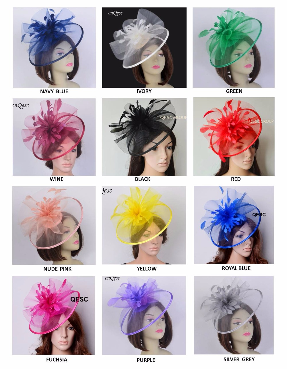2019 New Ladies Big Sinamay Crin Fascinator w feather flowers for Melbourne cup Wedding Races Kentucky