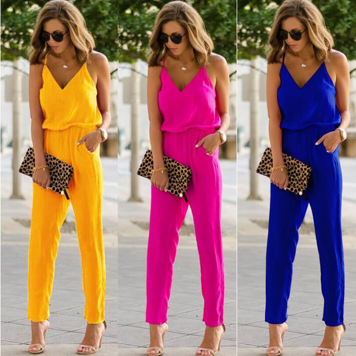 2019 Sexy Spaghetti Summer Sleeveless   Jumpsuit   Strap Wide Legs V-Neck Female Bodycon   Jumpsuit   3 Colors Bodusuit Trouser XL
