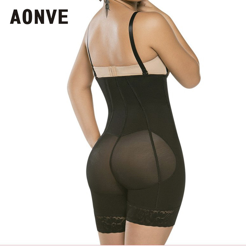 AONVE Women Bodysuit Slimming Sheath Corset Modeling Strap Corsets Bustiers With Zipper Black Waist Trainer Slimming Uunderwear