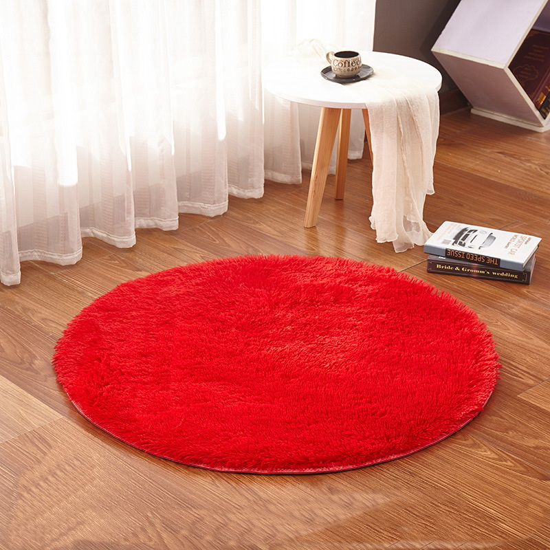 Red Round Rug Carpets Yoga Living Room Kilim Faux Fur