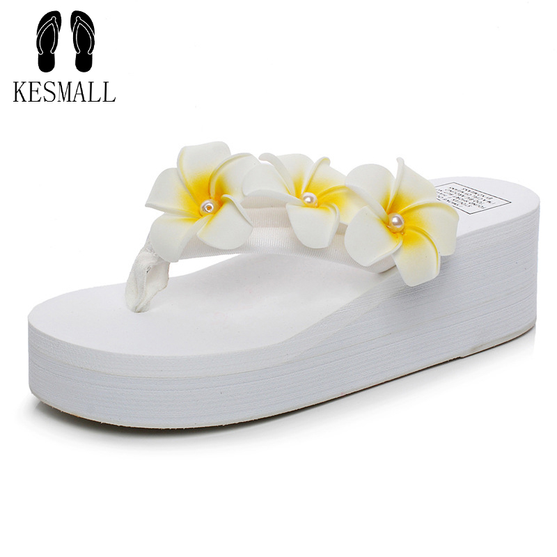 KESMALL Brand The New Summer Pearl Egg Flower Sewing Beach Shoes Wedges Platform Durable Flip Flops Slippers Women  Fashion WS26