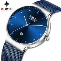 Норт мужские s часы лучший бренд класса люкс Бизнес Кварцевые часы мужские модные тонкие сетчатые стальные водонепроницаемые спортивные ча