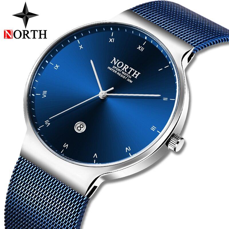 NORTH Mens Watches Top Brand Luxury Business Quartz Watch Men Fashion Slim Mesh Steel Waterproof Sport Watch Relogio Masculino