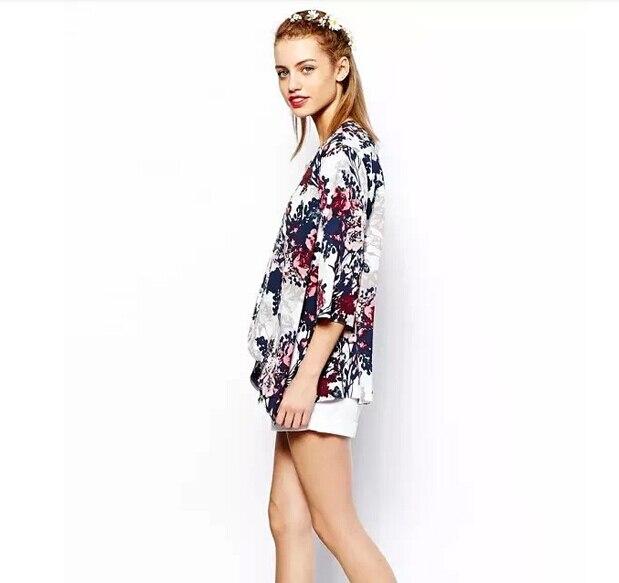 Espanha estilo das mulheres da forma chiffon kimono cardigan tassel Regular Floral imprimir blusa/camisas femininas ropa mujer SV07 SV006090