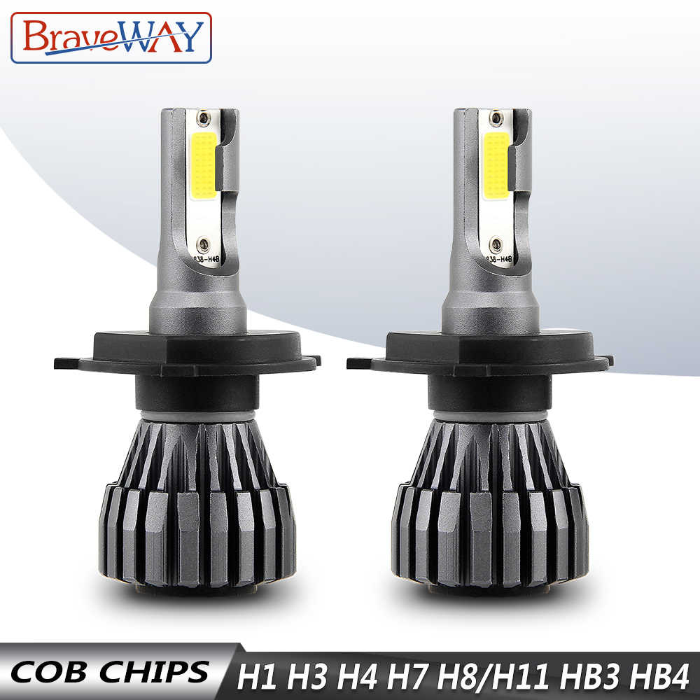 BraveWay H4 LED Auto H1 H3 H7 LED H4 Lamps Motorcycle Car Headlight H7 H8 H9 H11 9005 HB3 9006 HB4 6500K 12V