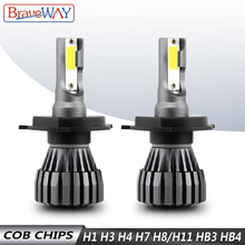 BraveWay H4 LED Auto H1 H3 H7 Lamps Motorcycle Car Headlight H8 H9 H11 9005 HB3 9006 HB4 6500K 12V
