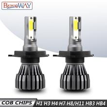 BraveWay H4 LED Auto H1 H3 H7 LED H4 Lamps Motorcycle Car Headlight H7 H8 H9 H11 9005 HB3 9006 HB4 6500K 12V 18pcs cob h1 h4 h7 h11 hb3 hb4 led coche faros bombillas 18w 6000 k s7 auto faro luz de niebla 9 v led h7 fa