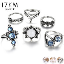 17KM Vintage Flower Midi Ring Set For Women Fashion Anillos Heart Crown Knuckle Rings 2019 Anillos Mujer Boho Jewelry(China)