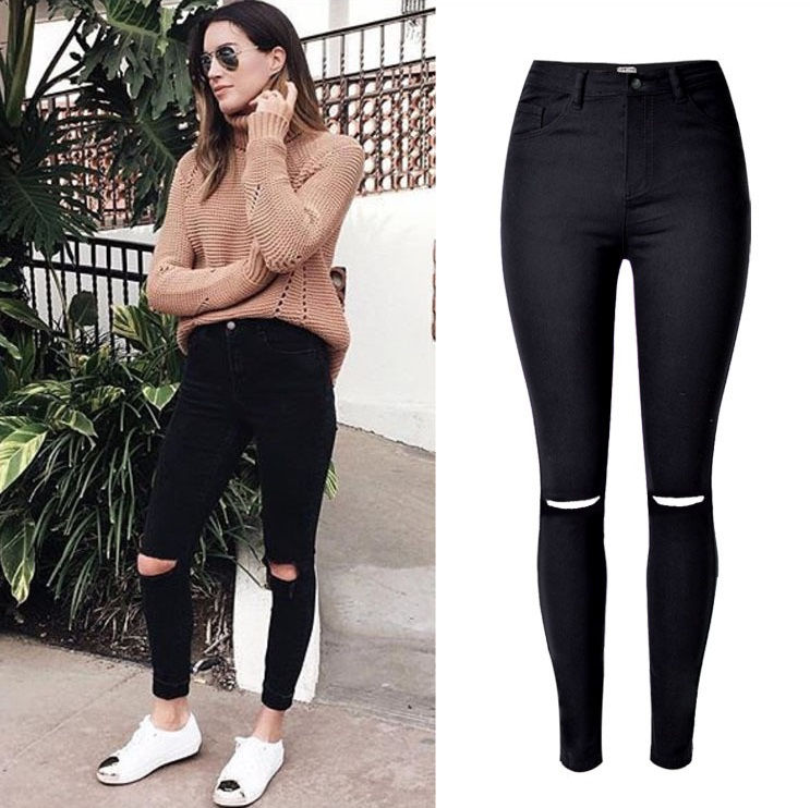 Fashion Ladies Army Green/White/Black Ripped Jeans Women High ...