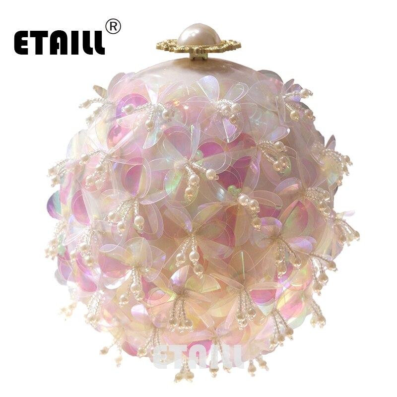 ETAILL Transparent Pink Flowers Pearl Beaded Tellurion Evening Bag Bridal Wedding Round Ball Wrist Shoulder Bag