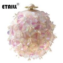 ETAILL Transparent Pink Flowers Pearl Beaded Tellurion Evening Bag Bridal Wedding Round Ball Wrist Shoulder Clutch Handbag