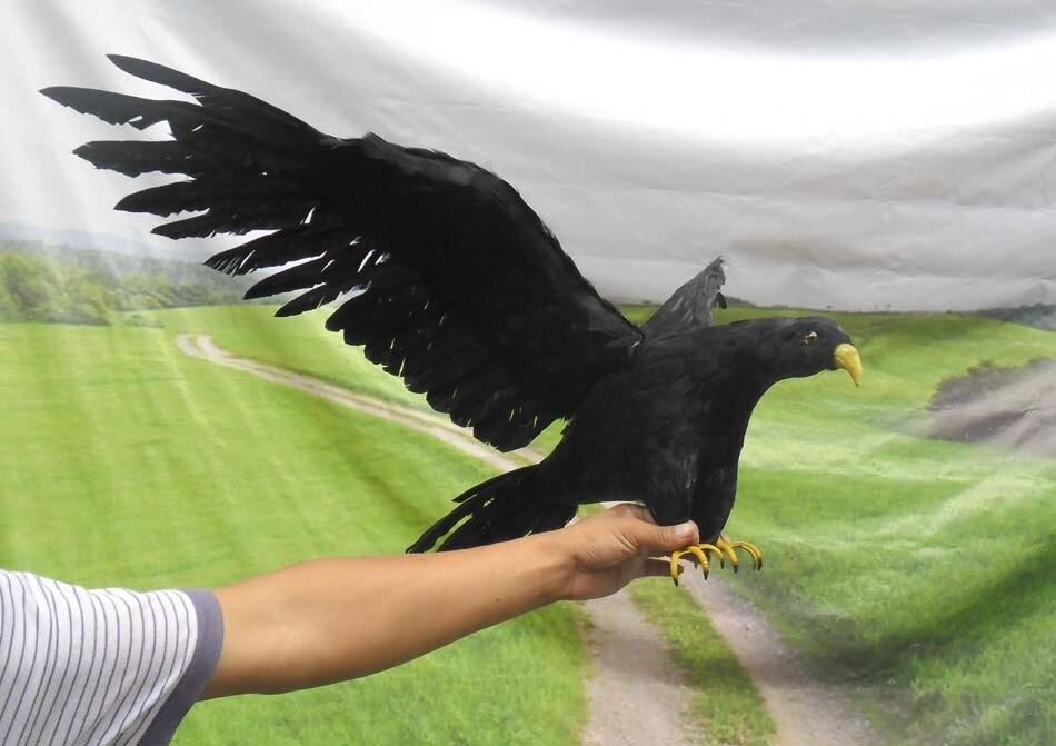 Новый Моделирование черная птица пластиковые модели и меха крылья ворона модель подарок около 90 х 45 см 0801