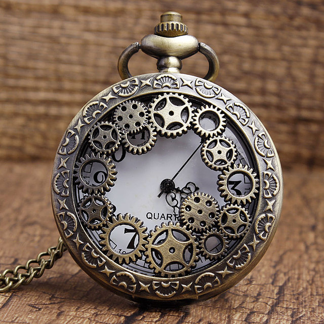 Bronze Hollow Gear Case White Dial Quartz Pocket Watch Analog Necklace Pendant C