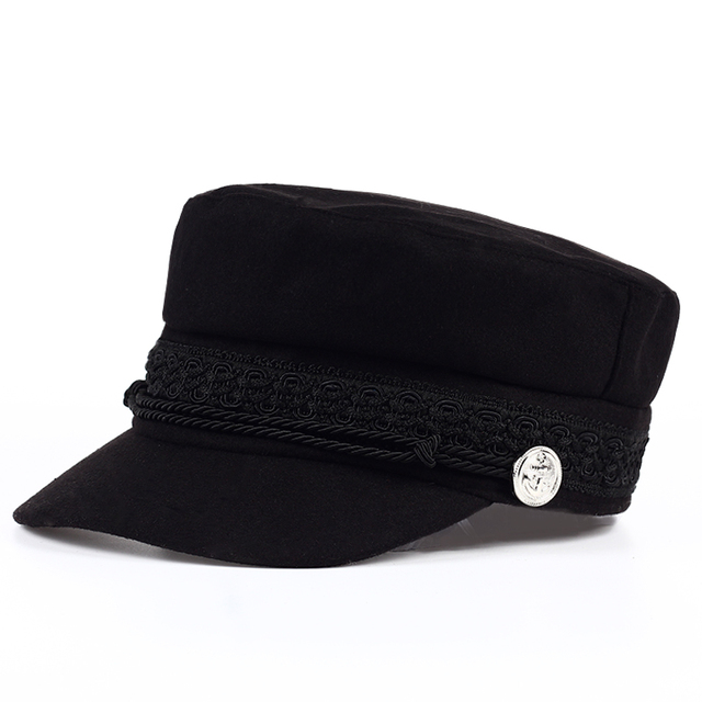 561b950067 Fashion black hat cap women Casual streetwear rope flat cap Elegant solid  autumn winter warm beret hat female 2017