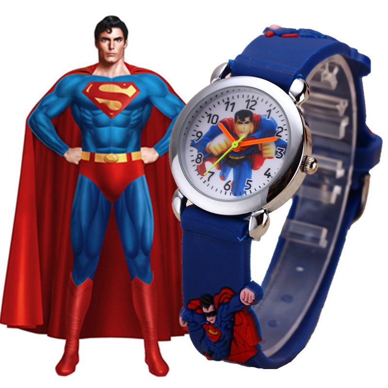 Superman Cartoon Watches Boys Cool Rubber Quartz Kids Watch Clock Gift Hot Relogio Infantil  New Trend Relogio Infantil