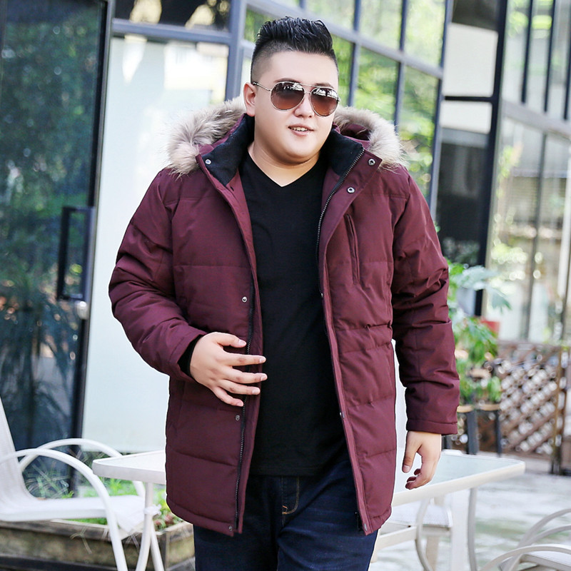 Super Big Size Thick   Down     Coat   Men's Winter Casual Long Thicken Jacket   Down     Coat   Men Hooded Detachable Mens Clothing