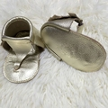 Handmade Baby First Walkers, Genuine Leather Flip Flop, Gold Baby Moccasins