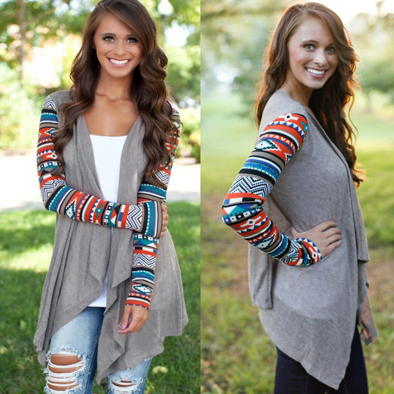 Cardigans Women Aztec Printed Long Sleeve Loose Sweater Tops Autumn Knitted Jacket Coat Female Sweaters Outwear Plus Size 5xl #4