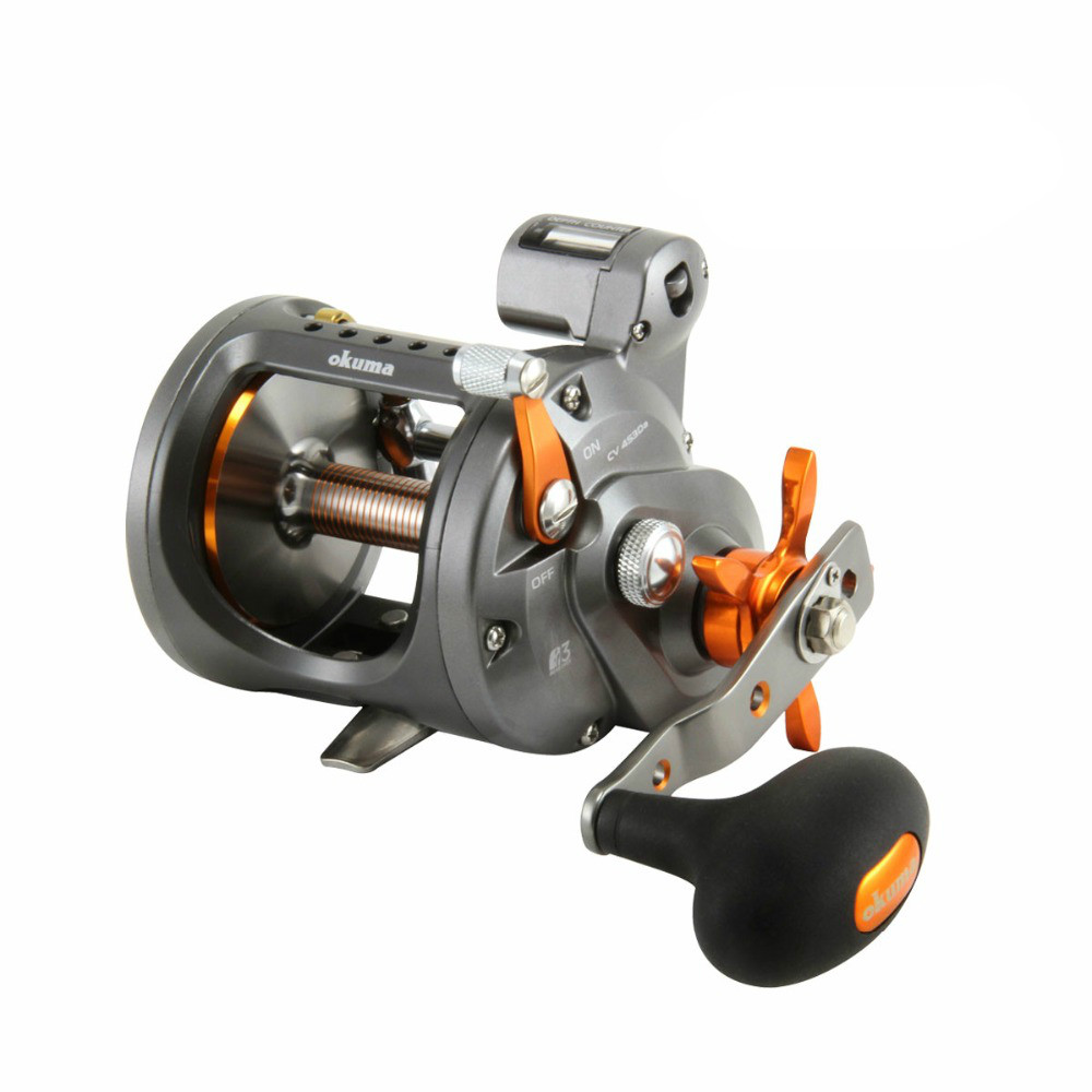 Okuma cold water CW 153DLX left hand drum fishing reel counter boat reels цена и фото