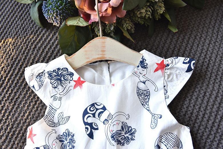 new summer girls dress fly sleeve baby girls clothes cartoon print kids dress for gir cute bow baby clothes birthday vestidos