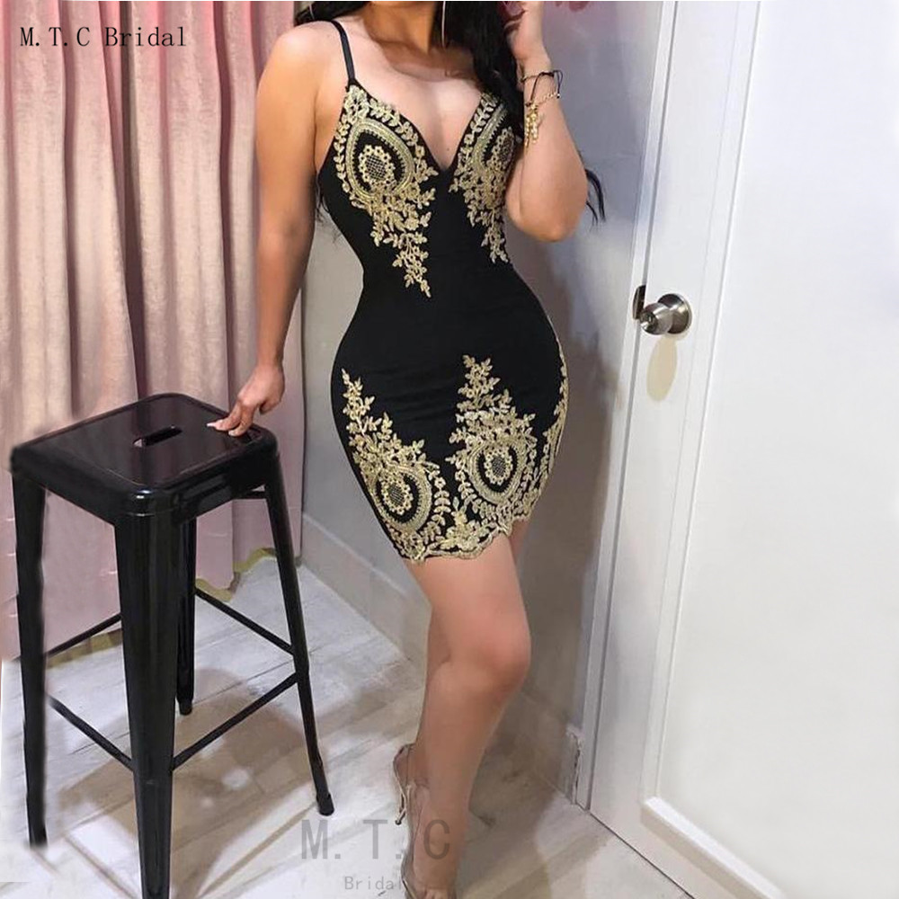 Black Short   Prom     Dresses   2019 Spaghetti Strap Sheath Style Mini Sexy Wedding Party   Dress   Cheap Gold Lace Appliques Women Gowns