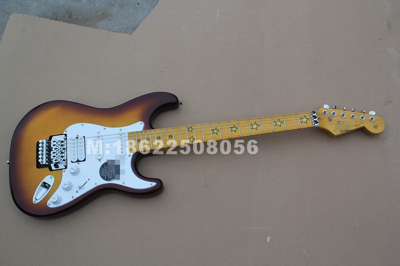 Ri Chie Sam Bora Sunburst ST  Electric Guitar With Star Inlay , Floyd Rose Double Locks Bridge