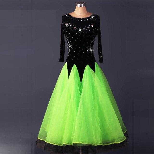 b31fc659e8aa6 sexy ballroom dresses kids competition standard dance dress waltz flamenco  tango green black competition long sleeve ladies