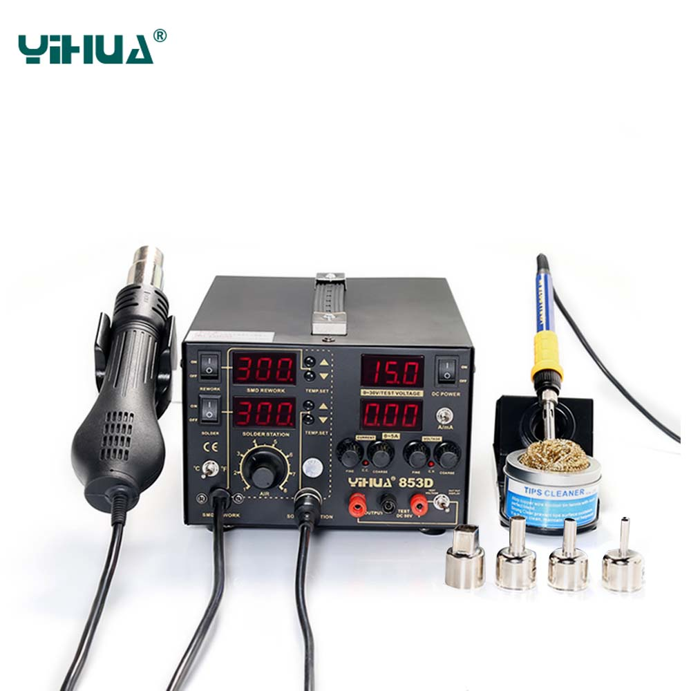 YIHUA 853D Solder Station 3IN1 SMD 5A DC Power Supply Hot Air Gun Soldering Iron Rework Solder Station BGA repair 110V 220V 853d 110v 220v usb hot air gun rework station soldering iron heat gun power supply welding repair solder station led light