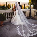 2016 New Style White or Ivory 1 Layer 3 Meters  Lace Edge Cathedral Length Wedding Bridal Veil