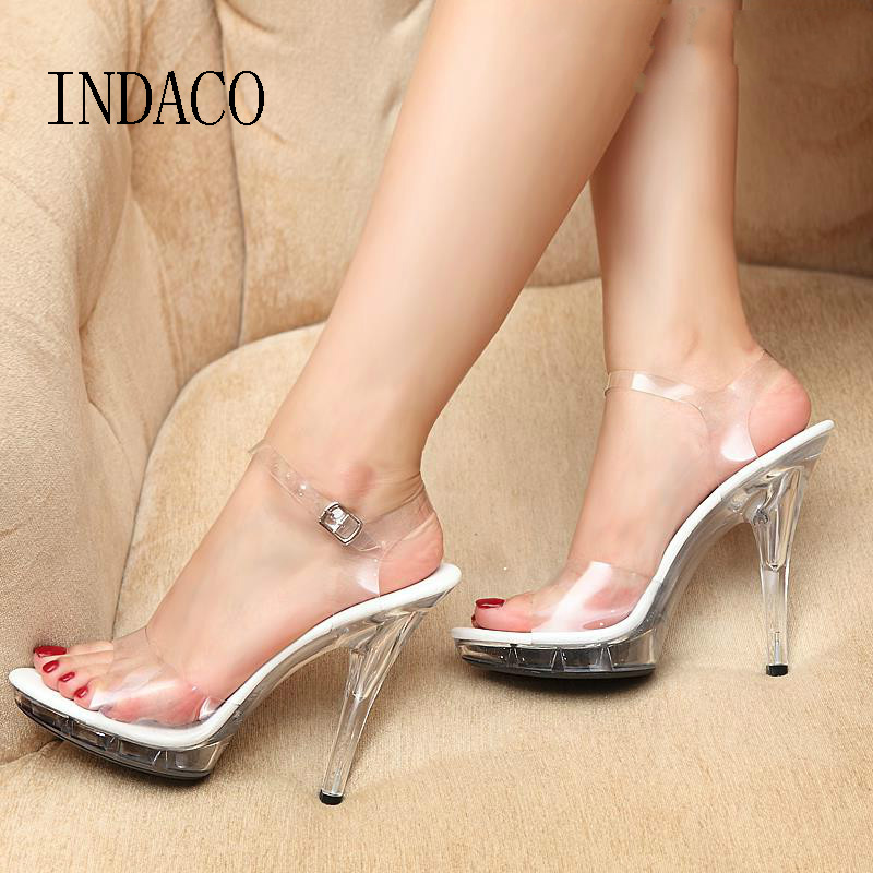 Women Transparent High Heels Sandals Platform Summer Waterproof Female Crystal Wedding Shoes Sandalia Feminina 13cm INDACOWomen Transparent High Heels Sandals Platform Summer Waterproof Female Crystal Wedding Shoes Sandalia Feminina 13cm INDACO