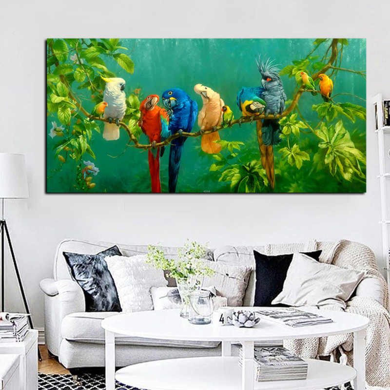 Artistic Parrot Bird on Branches Wood Landscape Oil Painting on Canvas Poster Print Wall Picture For Living Room  Cuadros Decor