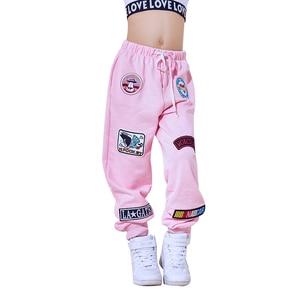 Image 5 - Yeni moda siyah pembe caz dans pantolon çocuk Hip Hop pantolon sokak dans Ds kostüm pantolon gevşek rahat Sweatpants DL2469