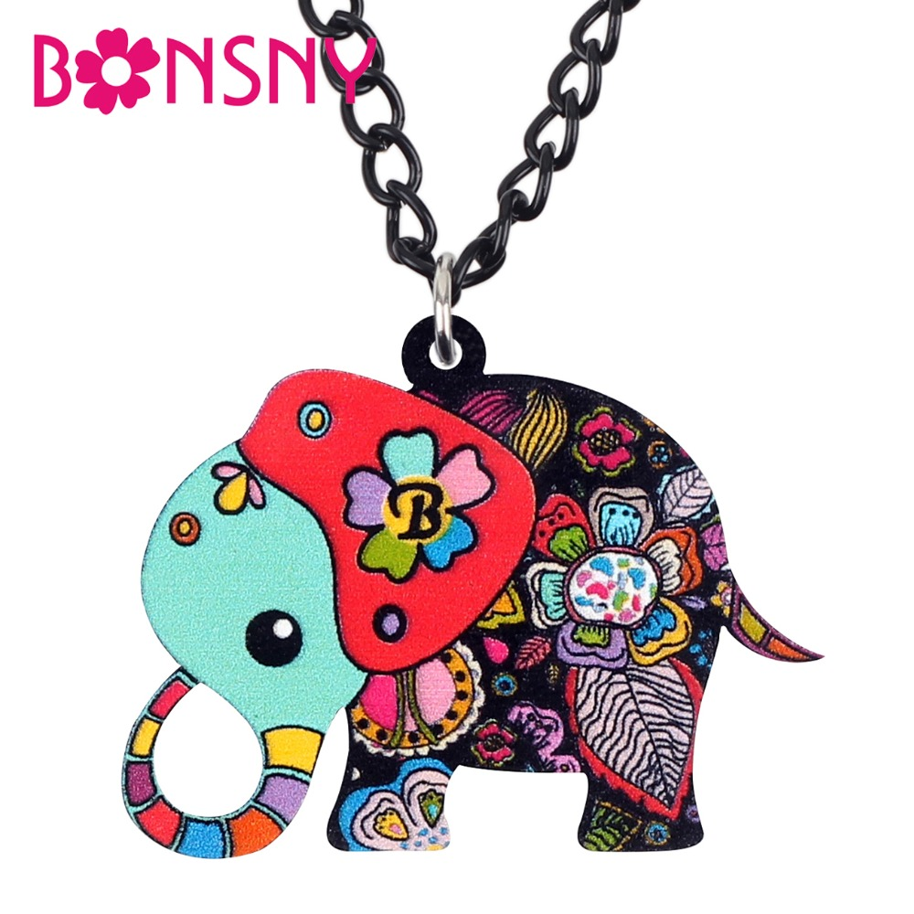 Bonsny Acrylic Anime Floral African Jungle Elephant Necklace Pendant Chain Choker Fashion Animal Jewelry For Women Girl Kid Gift