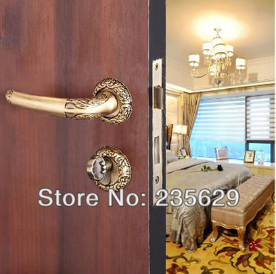 Free Shipping Entrance Door Lock Rose golden and Copper Brown finished Brass Material Handle 35 45mm