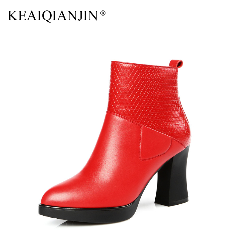 KEAIQIANJIN Woman Summer Leather Boots Black Red Plus Size 34 - 42 Winter Short Rubber Boots High Genuine Leather Ankle Boots пилки для электролобзика сибртех 78234