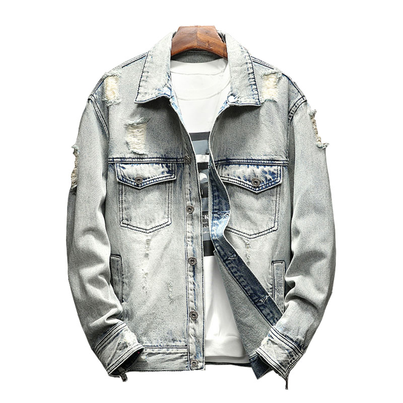 027645f963 new spring and summer mens lightblue denim jackets ripped distressed  juniors youth boys jean trucker jackets