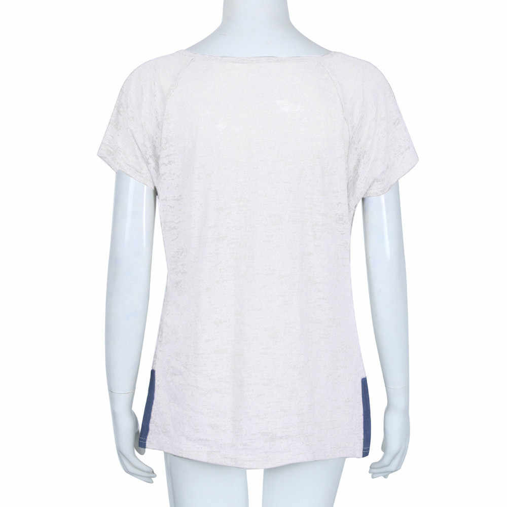נשים קצר שרוול רופף מזדמן כפתור T חולצה חולצות Blusas Femininas דה vero 2019Mujer מנגה Corta בציר # N45