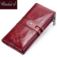 Contact s Women font b Purses b font Long Zipper Genuine Leather Ladies Clutch Bags With