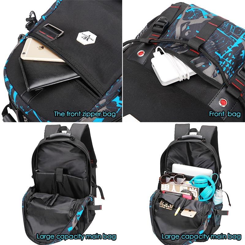 Vkingvsix Usb Waterproof Backpack Women Men 15.6 Inch Laptop Backpacks Travel Teen School Bags Boys Back Pack Mochila Bagback #4