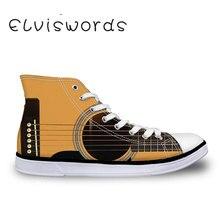 Женская обувь с высоким берцем, вулканизованная обувь, парусиновая обувь, модная гитара, повседневная обувь на плоской подошве с принтом, на шнуровке, износостойкая обувь, студенческие кроссовки