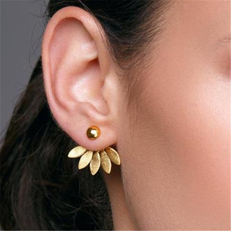 Flower Metal Stud Earrings for Women Rose Gold Color Double Sided Fashion Jewelry Earrings Female Ear Brincos Pending(China)