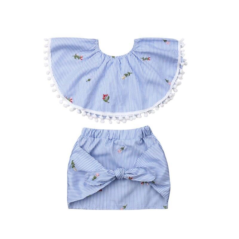 2019 Toddler Kids Baby Girl Dress Floral Off-Shoulder Vest Tops+Dress Outfit Set