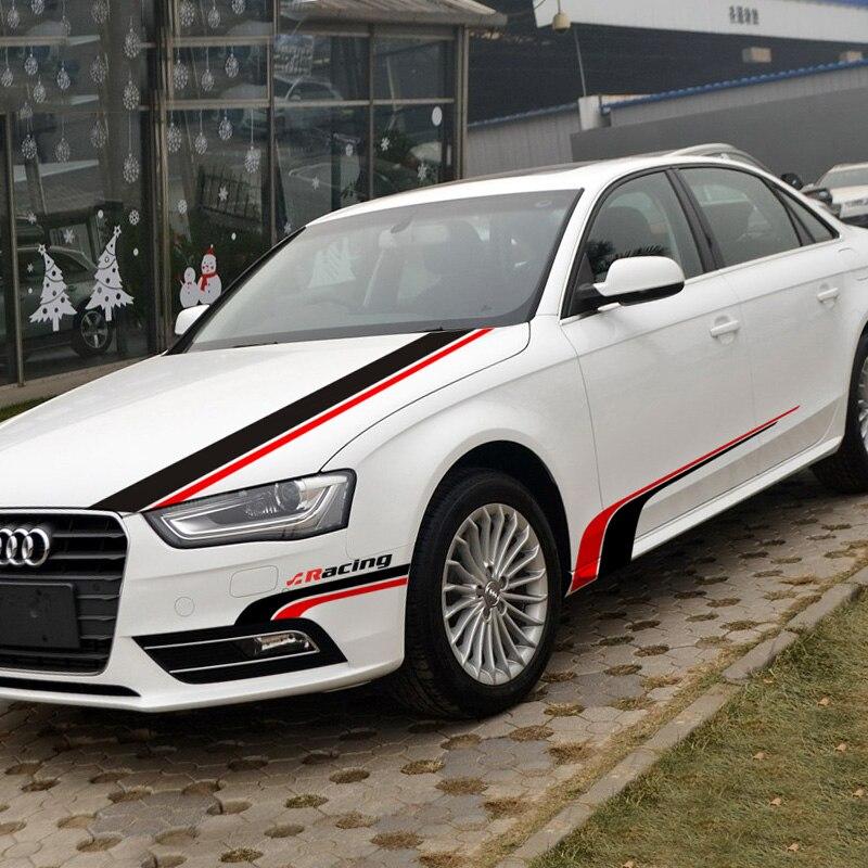 Autocollant de décoration de voiture de course de ligne brève de mode pour BMW/AUDI A4L/Q3/A1/Q3, autocollants et décalcomanies de colle de vinyle de style automobile, deux couleurs