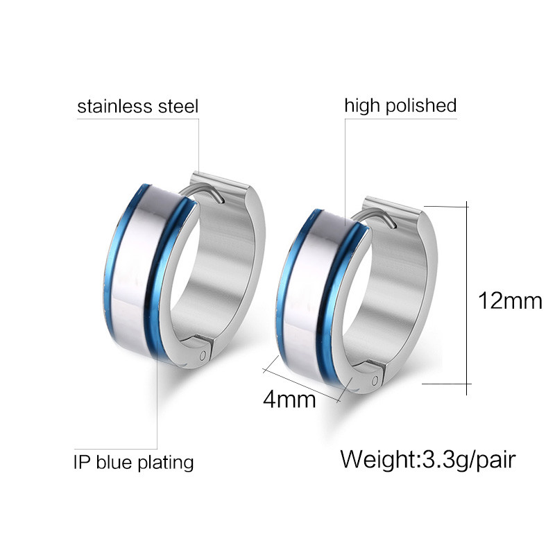 High Quality Stainless Steel Earrings Exquisitive Polished Men Jewelry Blue Circle Silver Plated