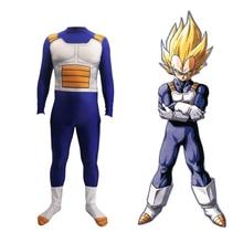 Deluxe Anime DRAGON BALL Vegeta Cosplay Costume Kids Adult Super Saiyan Battle Spandex Jumpsuits Halloween For Kid