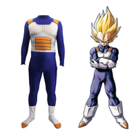Deluxe Anime DRAGON BALL Vegeta Cosplay Costume Kids Adult Super Saiyan Battle Spandex Jumpsuits Halloween Costume For Adult Kid