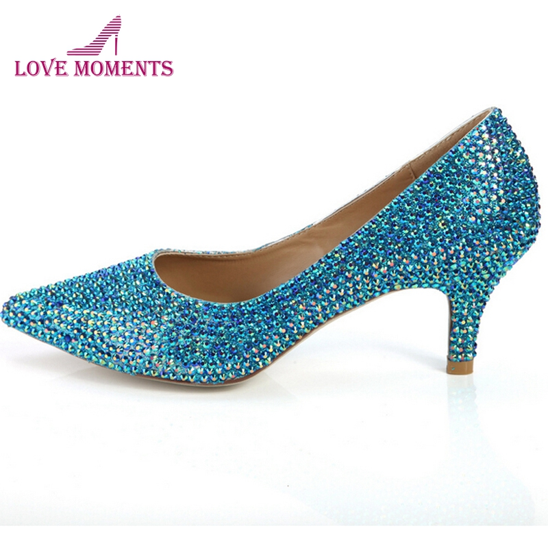 Pointed Toe Rhinestone Cinderella Pumps Blue Rhinestone Wedding Dress Shoes Prom Party Formal Dress Shoes Crystal Women Shoes cinderella high heels crystal wedding shoes 14cm thin heel rhinestone bridal shoes round toe formal occasion prom shoes