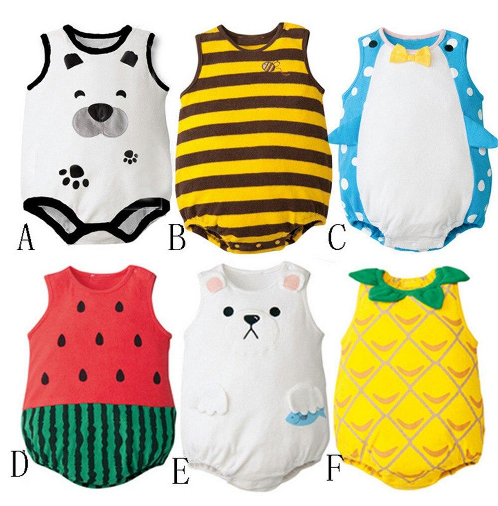 Baby Girls Boys sleeveless Cartoon Baby Girls Rompers Fashion Leisure Animal Fruit Summer Newborns Cosplay Clothes
