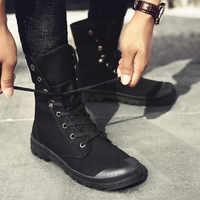 Todos os homens pretos sapatos nova moda alta superior tênis masculinos casuais sapatos de lona meninos zapatos de hombre botas militares tenis masculino