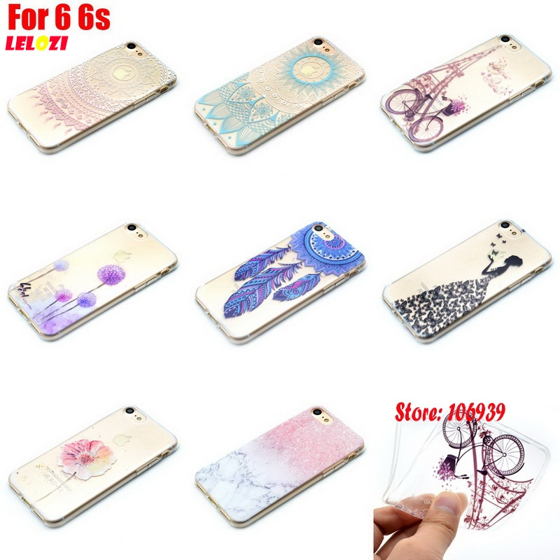 LELOZI Art Luxury TPU Clear Transparent Soft Silicone Silicon Capinha Etui Cover Case Shell For iPhone 6 6s I6s I6 I Bicycle